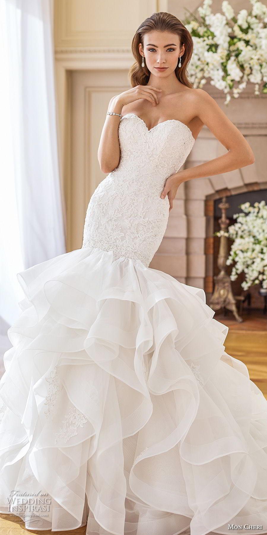 mon cheri fall 2017 bridal strapless sweetheart neckline heavily embellished bodice layered skirt elegant mermaid wedding dress chapel train (227) av