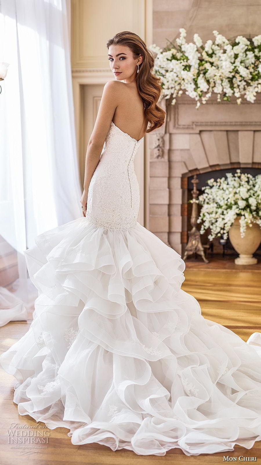mon cheri fall 2017 bridal strapless sweetheart neckline heavily embellished bodice layered skirt elegant mermaid wedding dress chapel train (227) bv