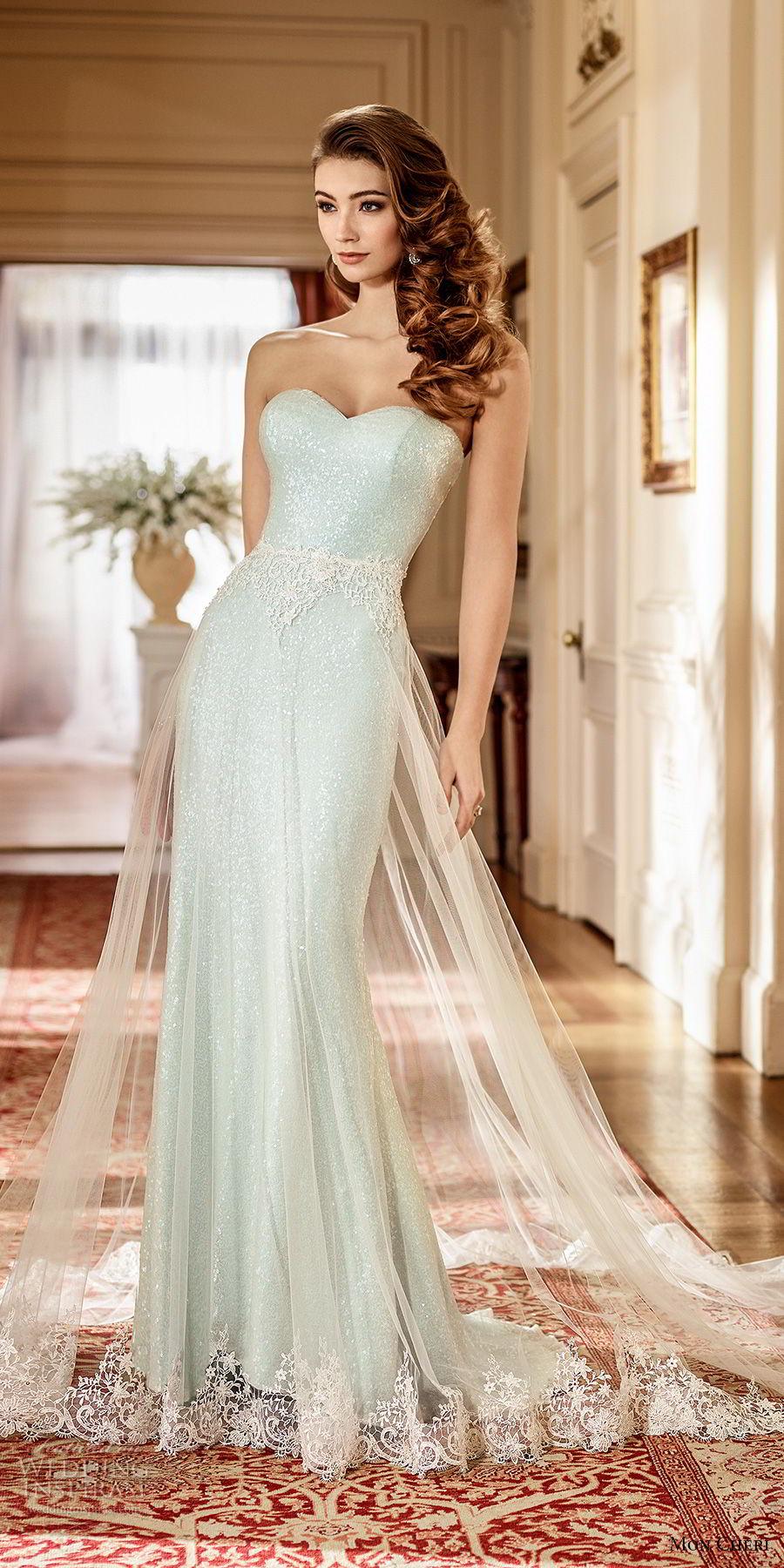 mon cheri fall 2017 bridal strapless sweetheart neckline light embellishment elegant green sheath wedding dress a line overskirt sweep train (214) av