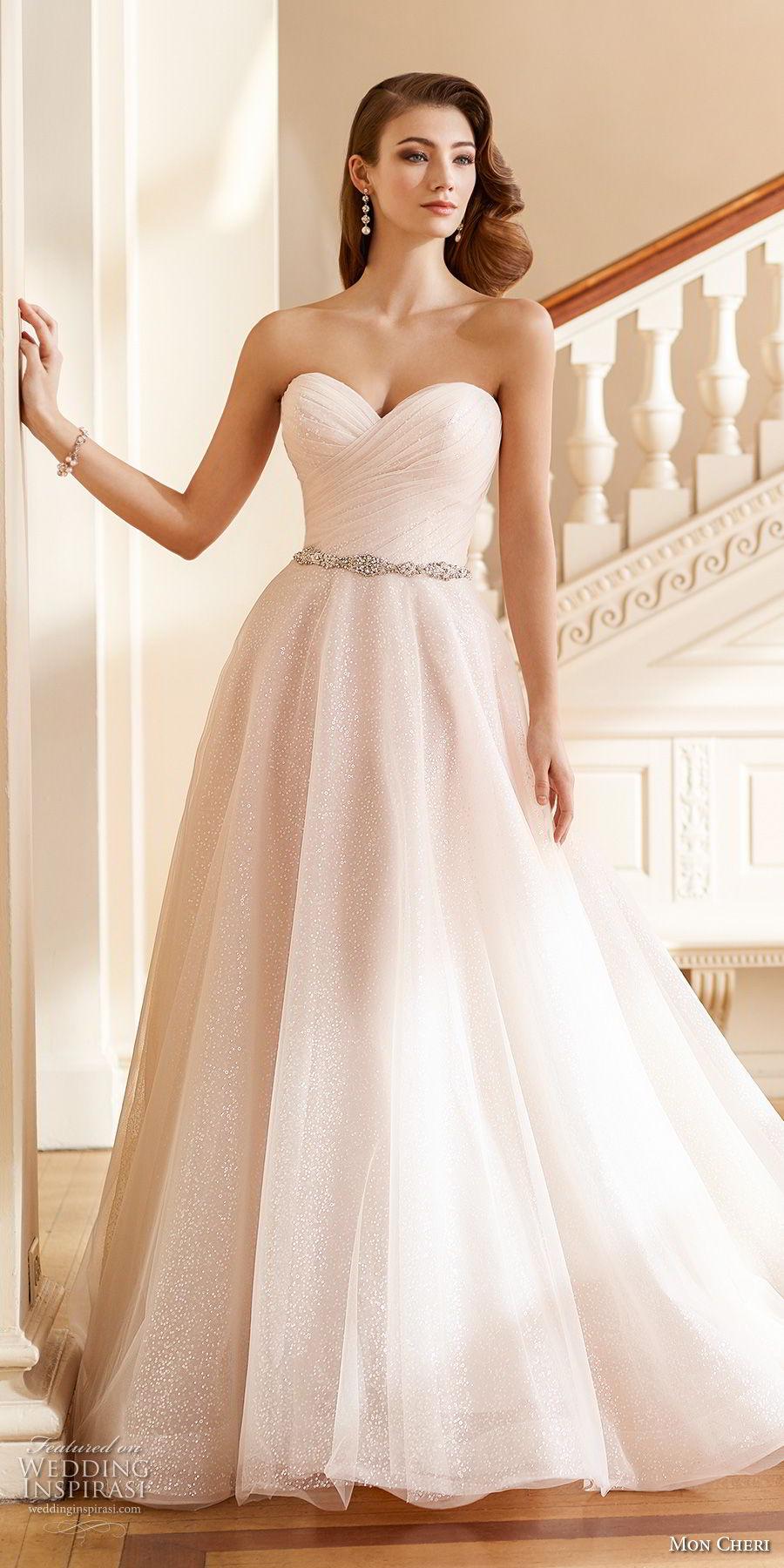 mon cheri fall 2017 bridal strapless sweetheart neckline wrap over ruched bodice blush color romantic a line wedding dress open v back chapel train (212) av