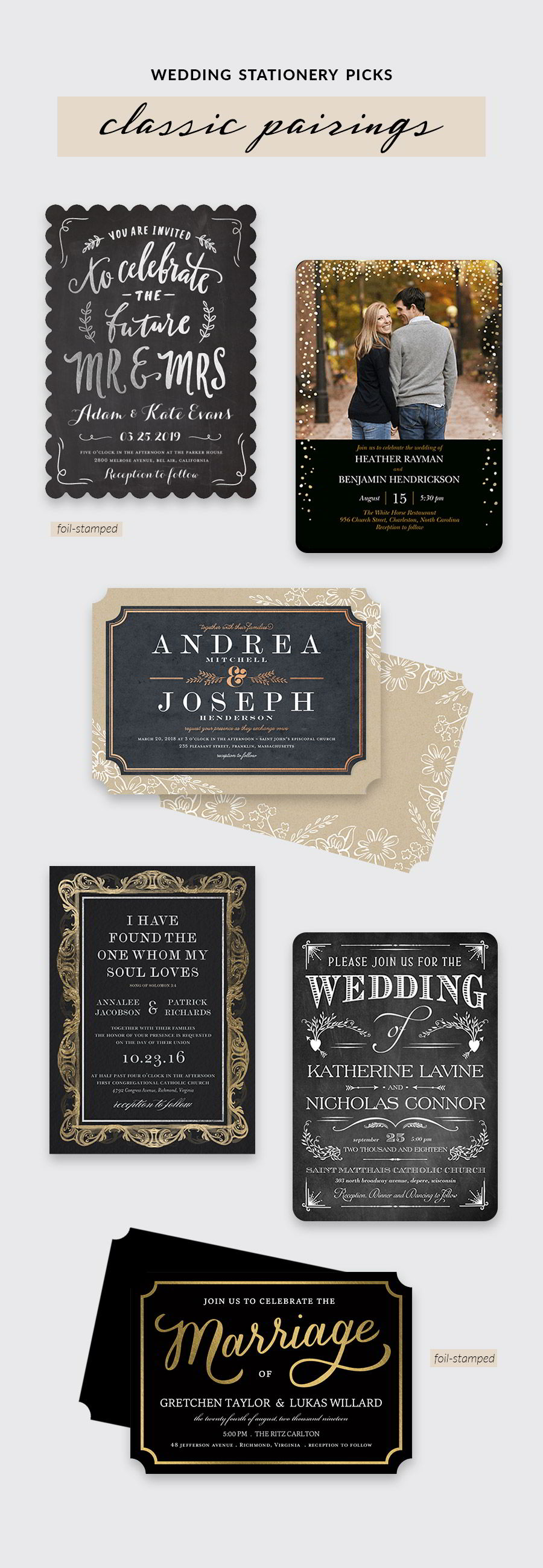 shutterfly bridal stationery black gold silver foil typography wedding invitation cards color inspiration