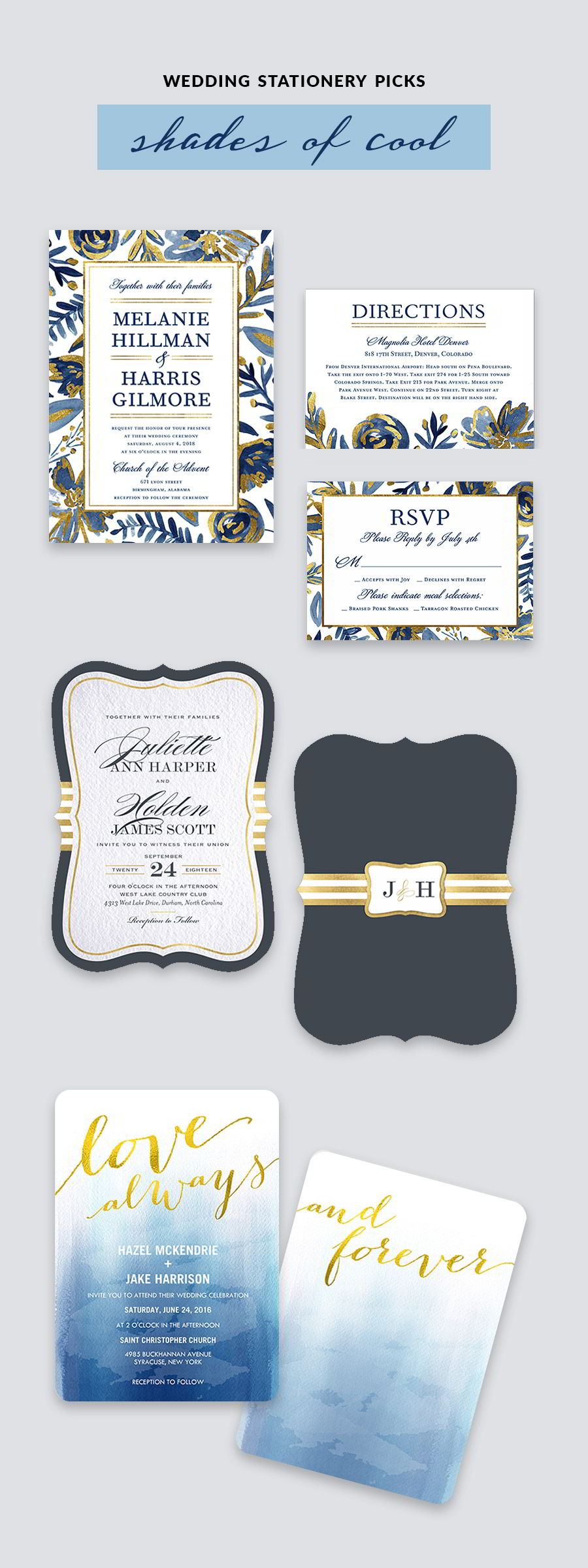 shutterfly bridal stationery blue light blue yellow gold wedding invitation cards color inspiration
