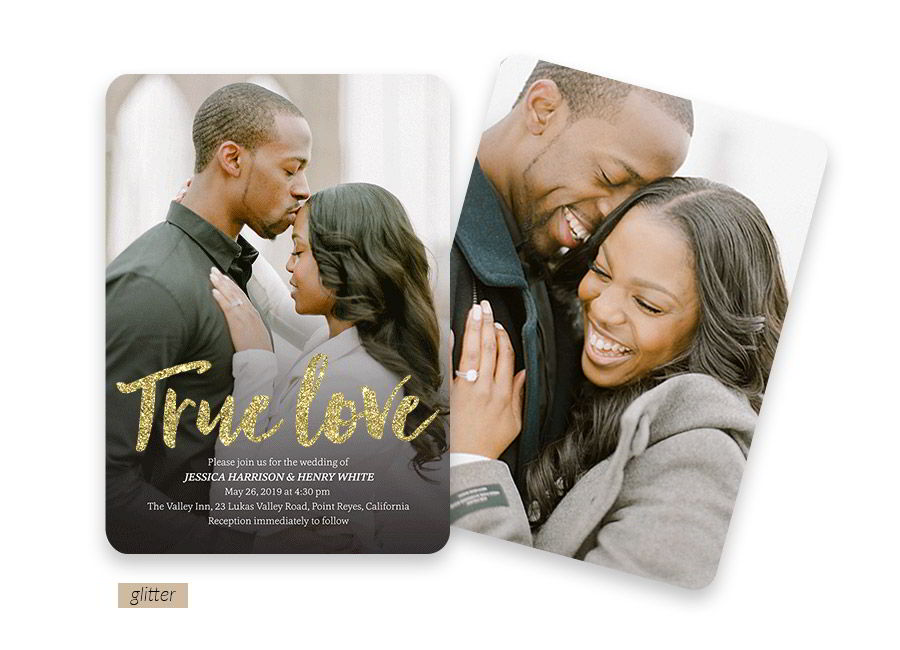 shutterfly bridal stationery glitter text full color photo wedding invitation card beaming love