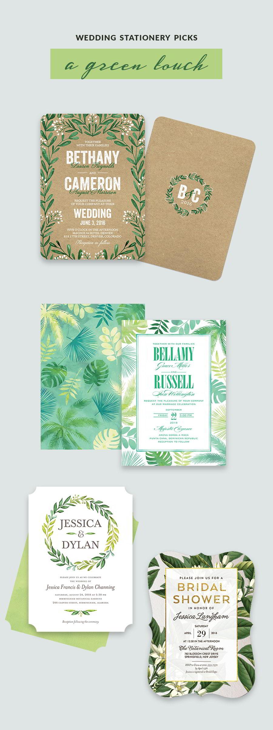 shutterfly bridal stationery green kraft wedding invitation cards color inspiration