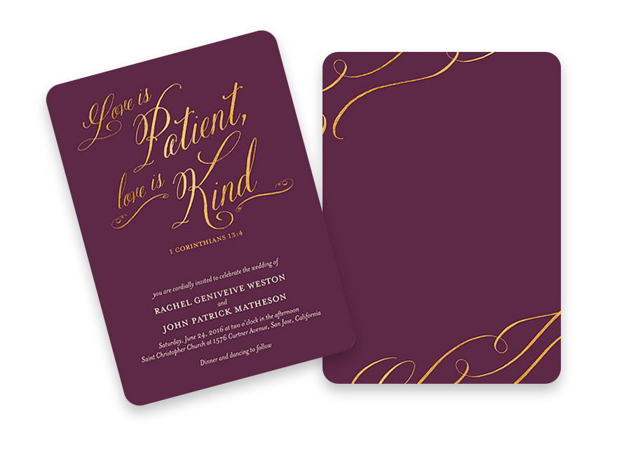shutterfly bridal stationery luxurious purple gold wedding invitation card patient and kind love quote