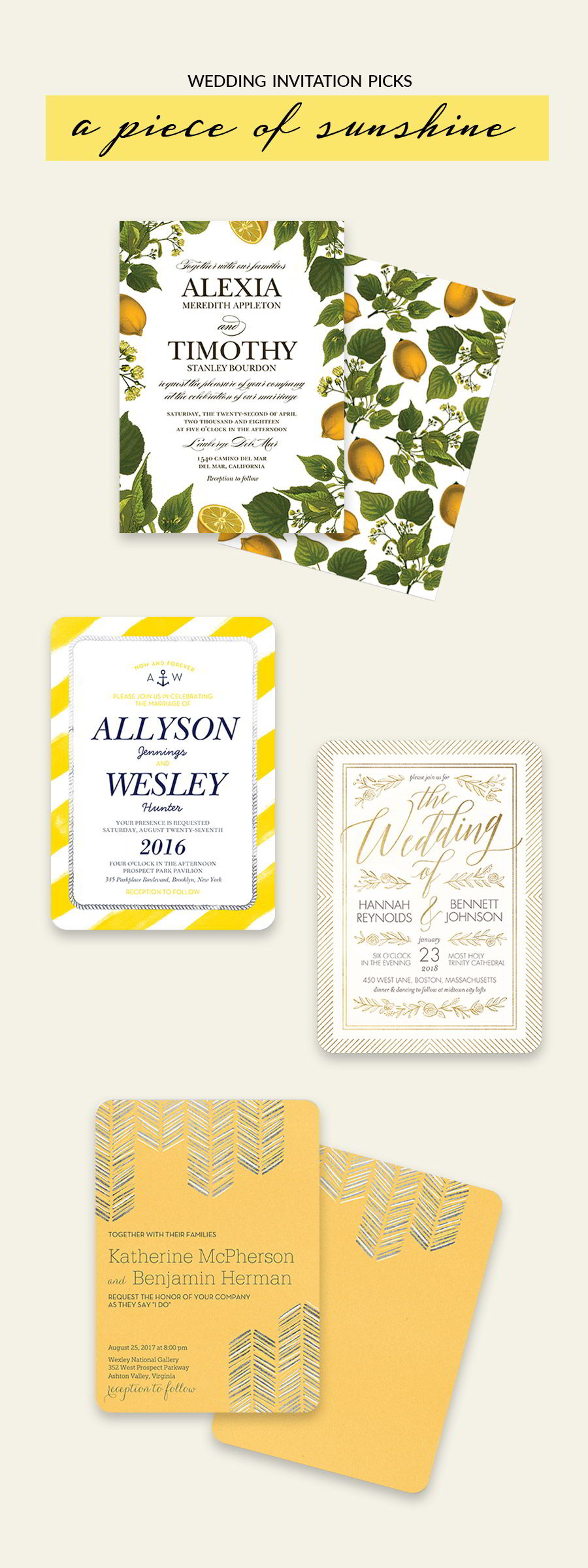 shutterfly bridal stationery yellow bright botanical wedding invitation cards color inspiration