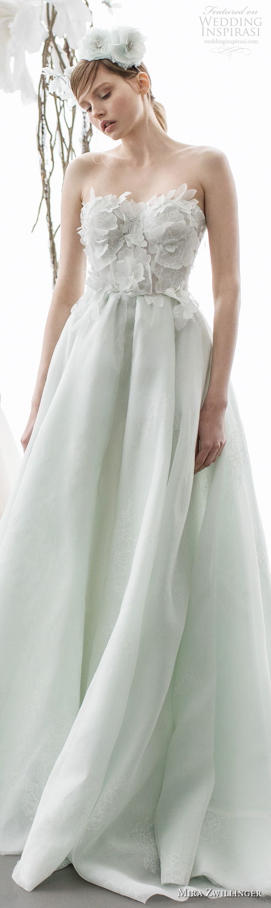 Strapless Sweetheart Neckline Heavily Embellished Bodice Green Color A Line Wedding Dress Chapel Train