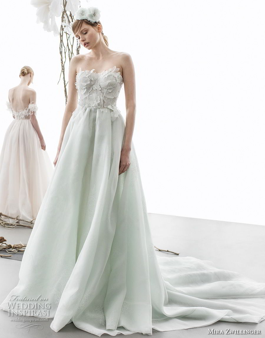 strapless sweetheart neckline heavily embellished bodice romantic green color a line wedding dress chapel train (amellia) mv