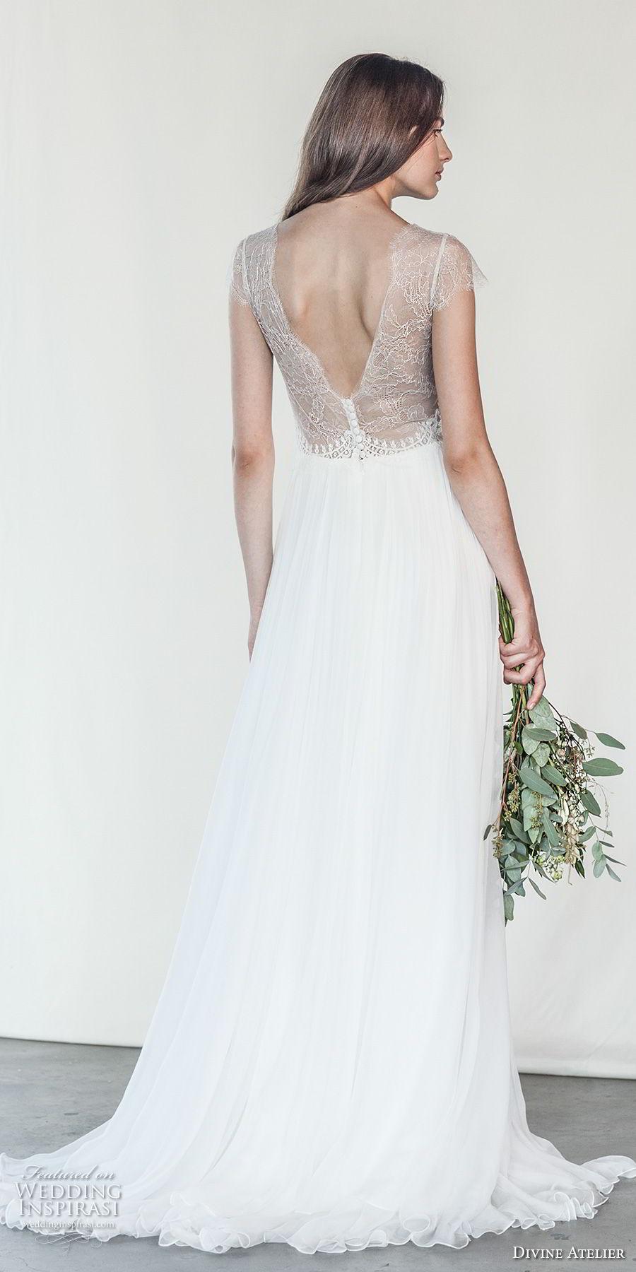 divine atelier 2018 bridal cap sleeves deep v neck heavily embellished bodice romantic soft a  line wedding dress open v back sweep train (14) bv