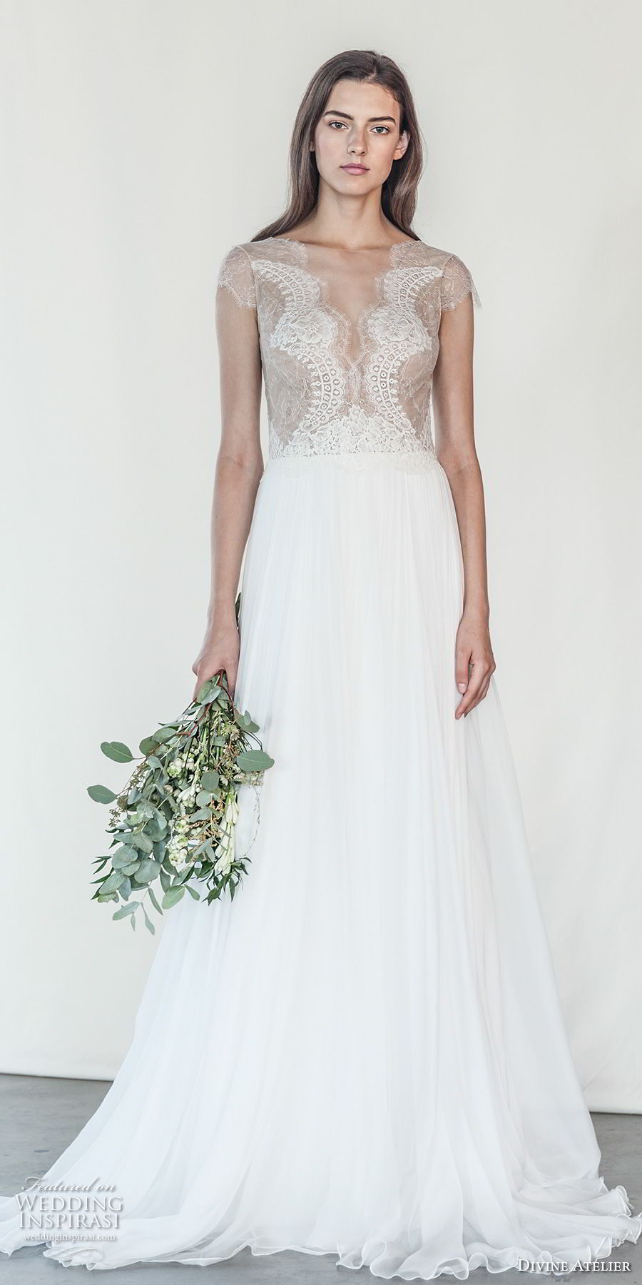 divine atelier 2018 bridal cap sleeves deep v neck heavily embellished bodice romantic soft a  line wedding dress open v back sweep train (14) mv
