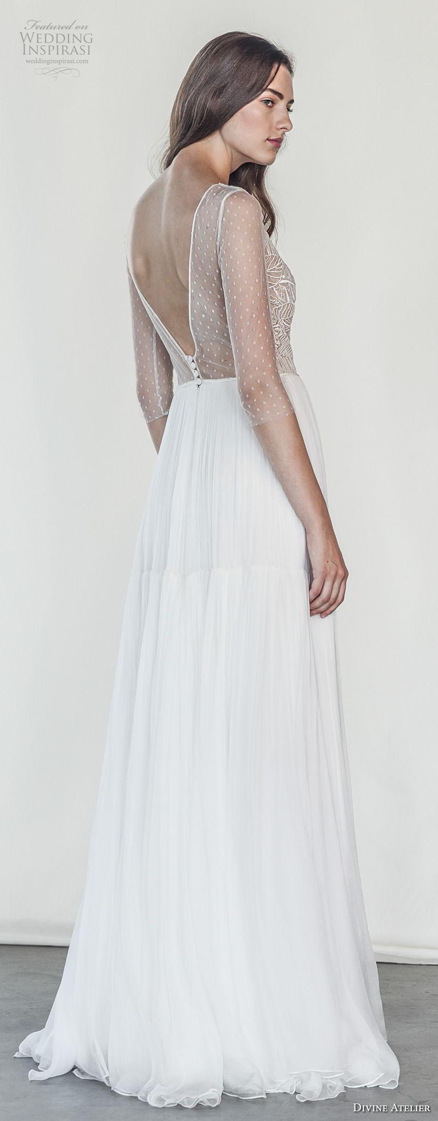divine atelier 2018 bridal half sleeves deep v neck heavily embellished bodice romantic soft a  line wedding dress open v back sweep train (24) bv