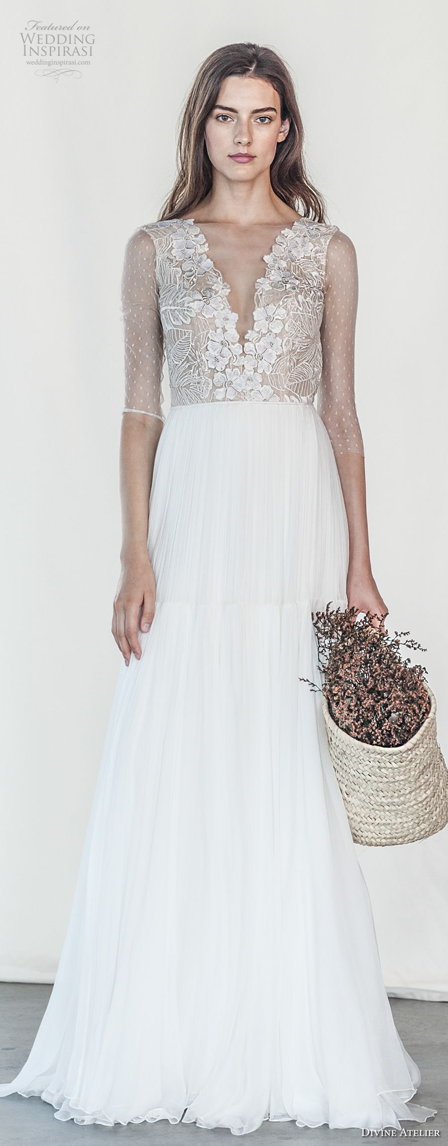 divine atelier 2018 bridal half sleeves deep v neck heavily embellished bodice romantic soft a  line wedding dress open v back sweep train (24) mv