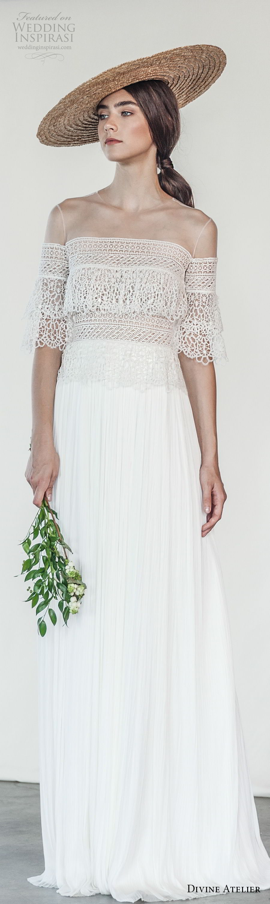 divine atelier 2018 bridal half sleeves illusion jewel neckline straight across neckline heavily embellished bodice romantic bohemian column wedding dress (25) mv