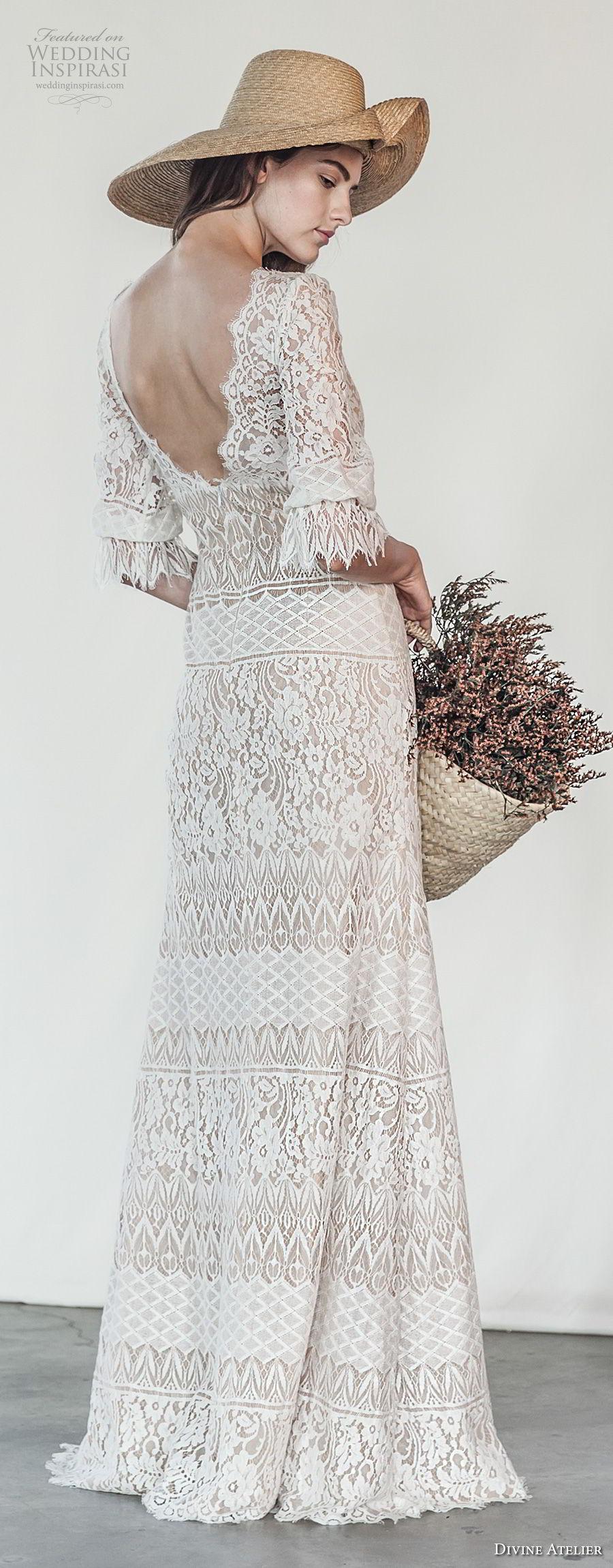 divine atelier 2018 bridal half sleeves v neck full embellishment bohemian romantic modified a  line wedding dress open v back swep train (10) bv