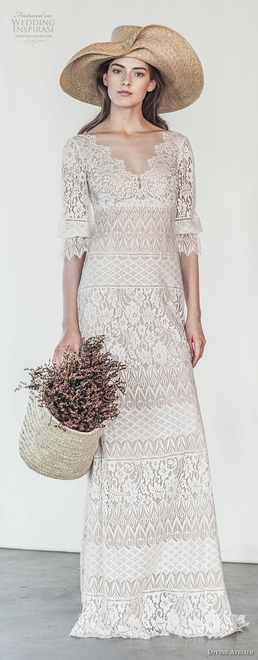 divine atelier 2018 bridal half sleeves v neck full embellishment bohemian romantic modified a  line wedding dress open v back swep train (10) mv