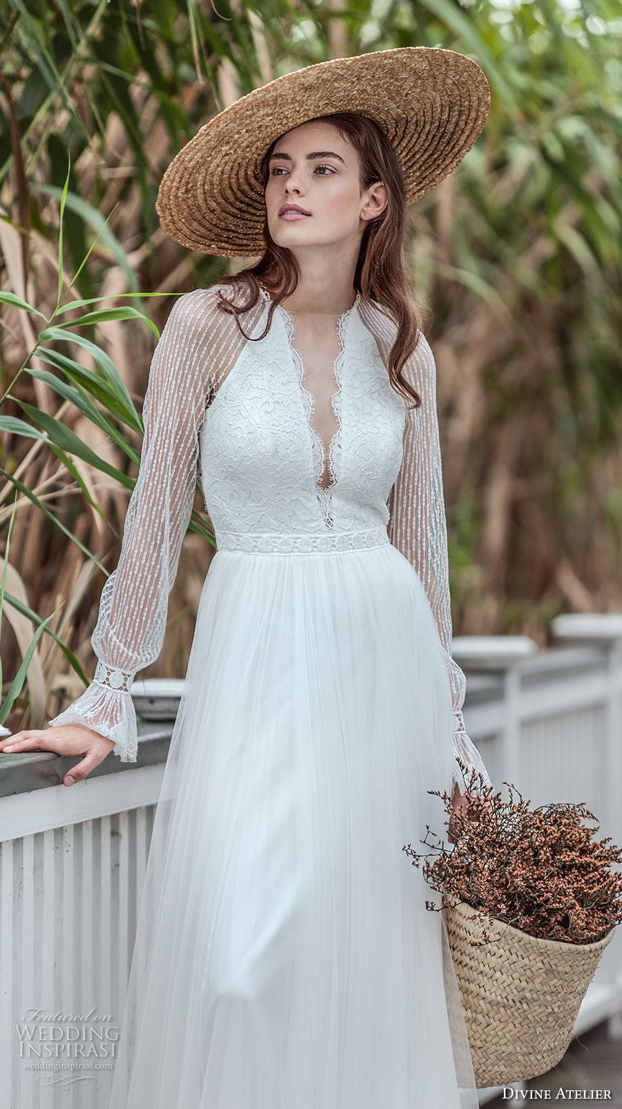 divine atelier 2018 bridal long sleeves deep plunging v neck heavily embellished bodce romantic soft a  line wedding dress keyhole back sweep train (6) zv mv