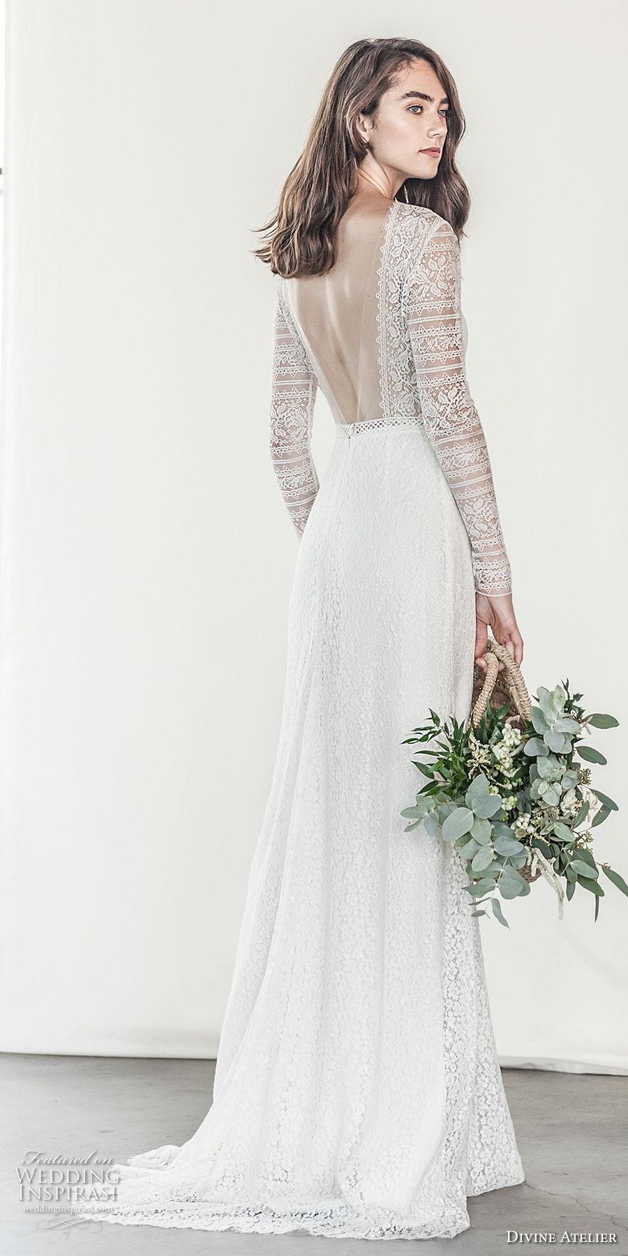 divine atelier 2018 bridal long sleeves deep plunging v neck light embellishment romantic soft a  line wedding dress open v back sweep train (17) bv