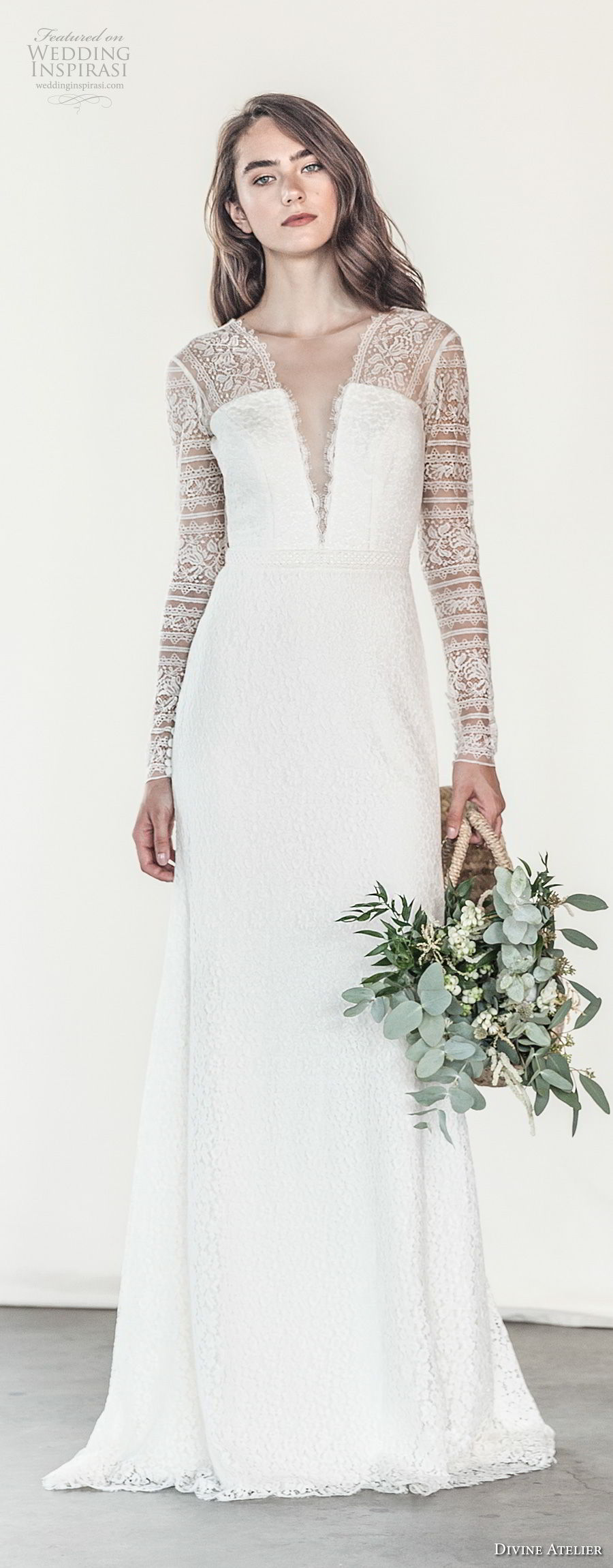divine atelier 2018 bridal long sleeves deep plunging v neck light embellishment romantic soft a  line wedding dress open v back sweep train (17) mv