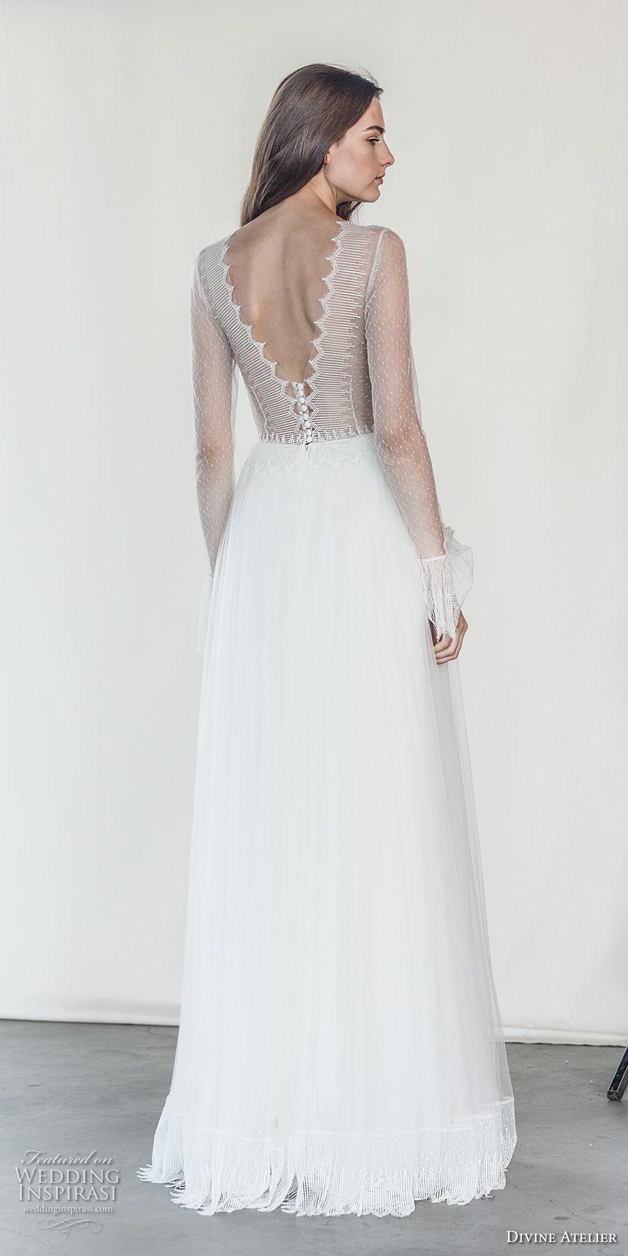 divine atelier 2018 bridal long sleeves deep v neck heavily embellished bodice romantic soft a  line wedding dress open v back sweep train (18) bv