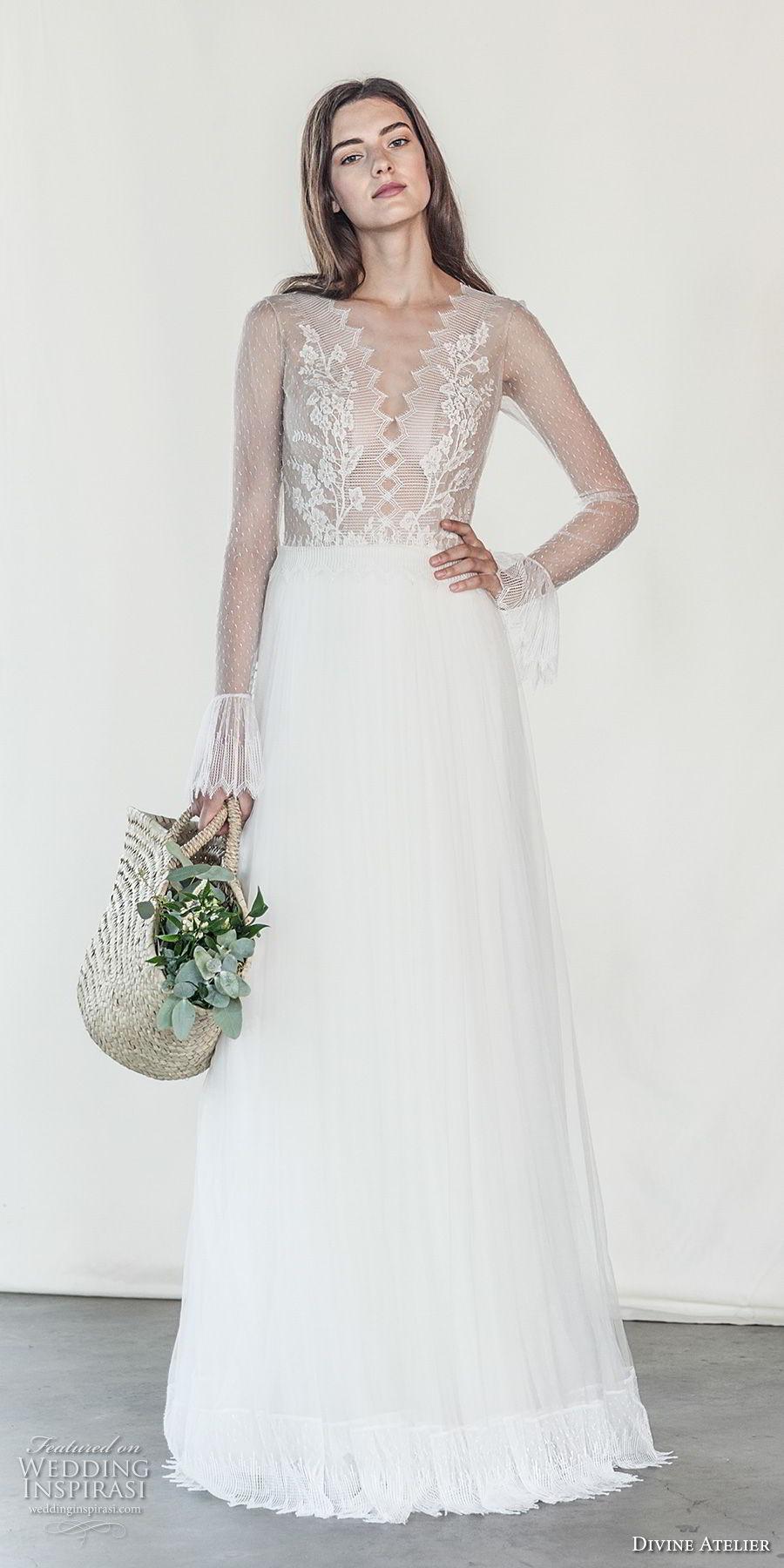 divine atelier 2018 bridal long sleeves deep v neck heavily embellished bodice romantic soft a  line wedding dress open v back sweep train (18) mv