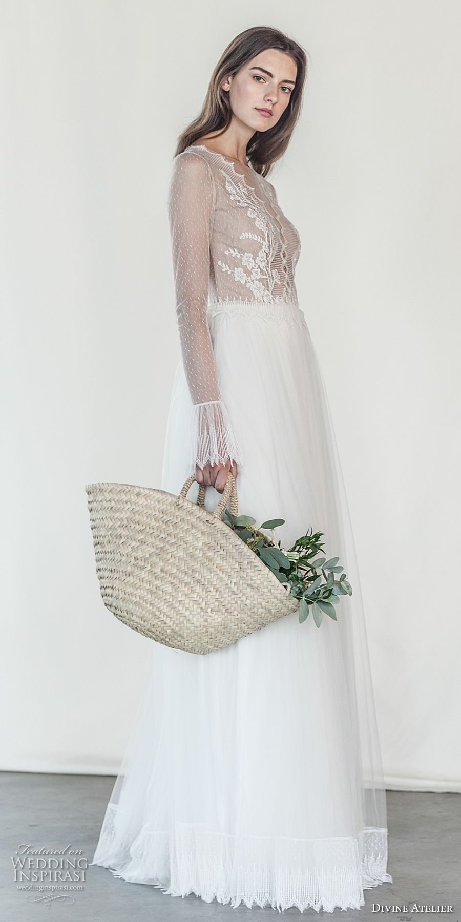 divine atelier 2018 bridal long sleeves deep v neck heavily embellished bodice romantic soft a  line wedding dress open v back sweep train (18) sdv