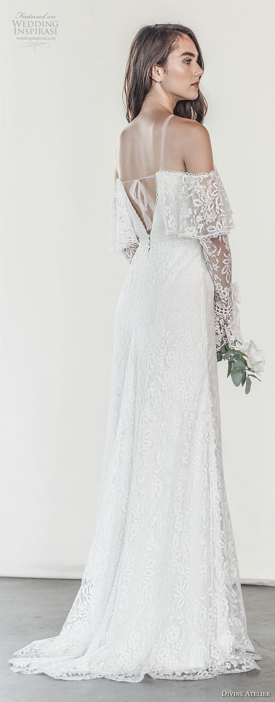 divine atelier 2018 bridal long sleeves halter neck heavily embellished bodice elegant vintage modified a  line wedding dress open strap back sweep train (8) bv