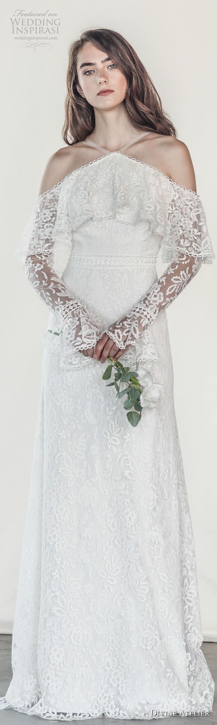 divine atelier 2018 bridal long sleeves halter neck heavily embellished bodice elegant vintage modified a  line wedding dress open strap back sweep train (8) lv