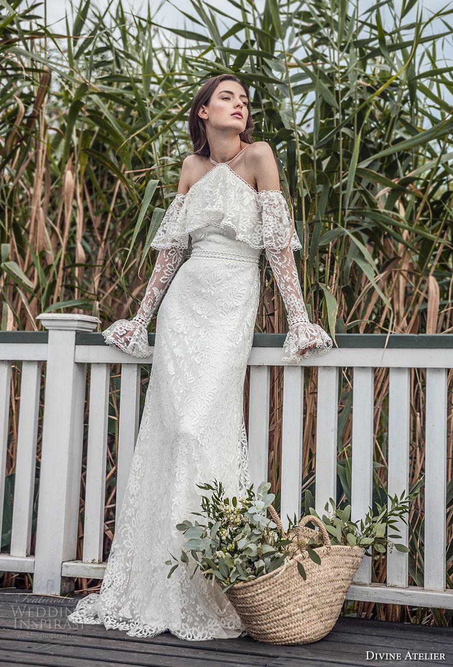 divine atelier 2018 bridal long sleeves halter neck heavily embellished bodice elegant vintage modified a  line wedding dress open strap back sweep train (8) mv