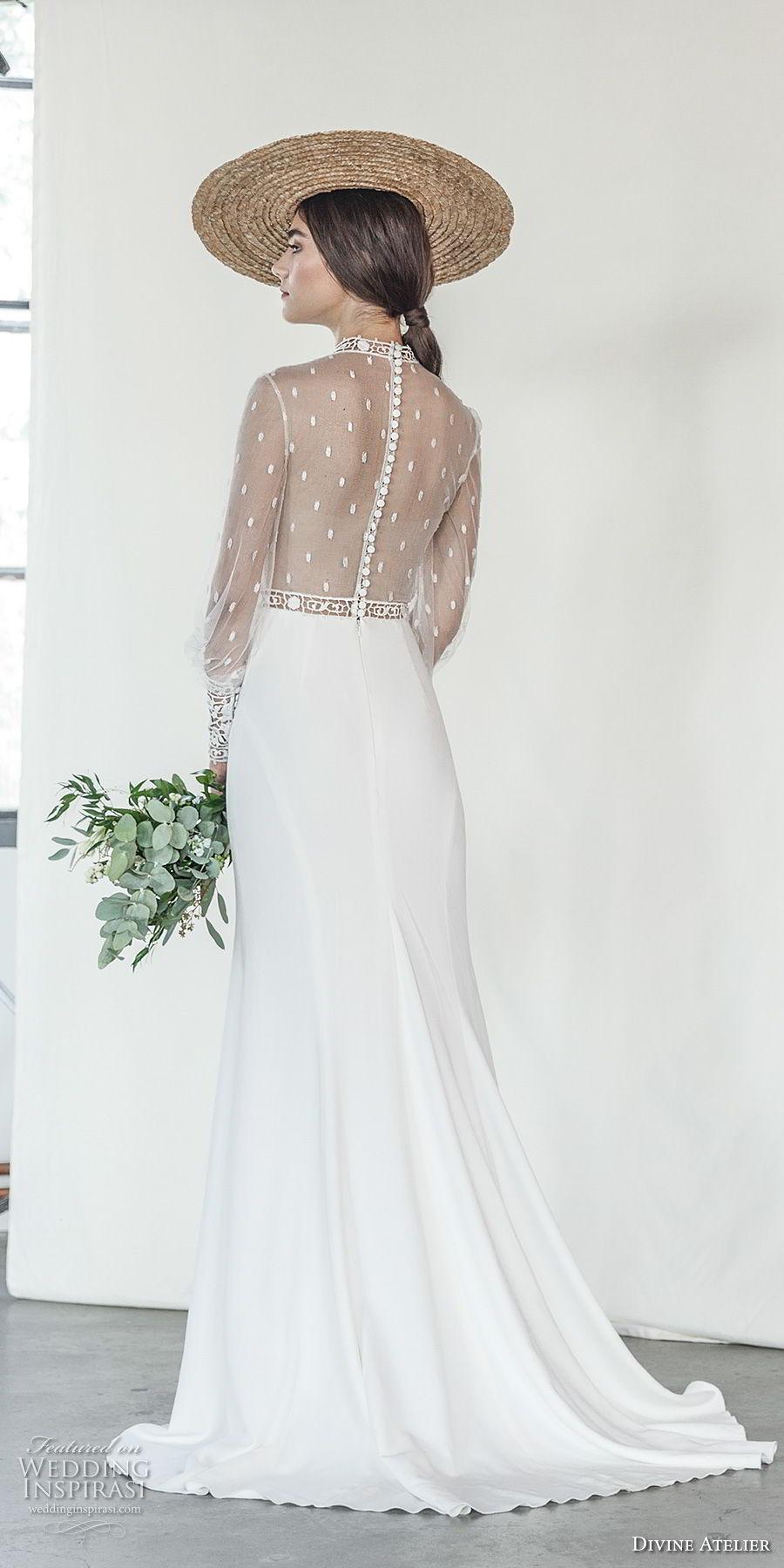 divine atelier 2018 bridal long sleeves illusion high neck straight across neckline heavily embellished bodice side slit skirt romantic soft a  line wedding dress sheer back sweep train (12) bv
