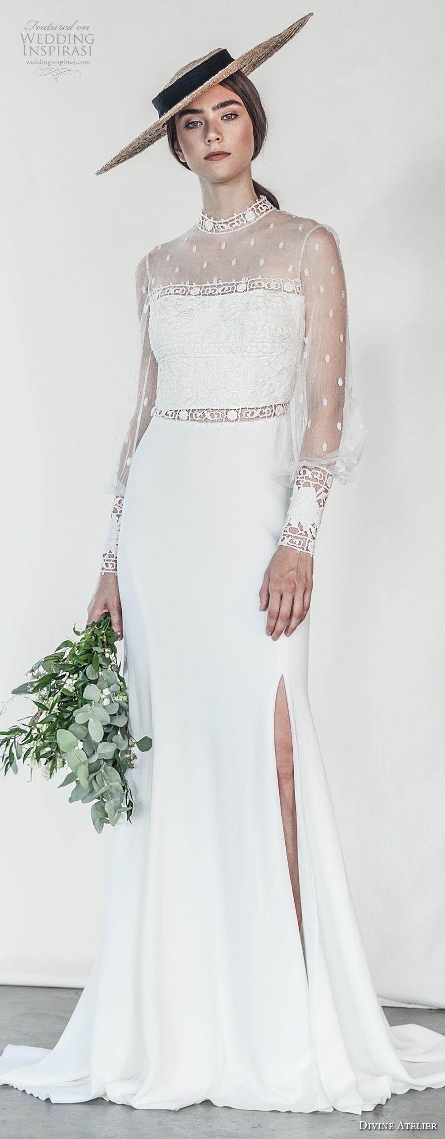 divine atelier 2018 bridal long sleeves illusion high neck straight across neckline heavily embellished bodice side slit skirt romantic soft a  line wedding dress sheer back sweep train (12) mv