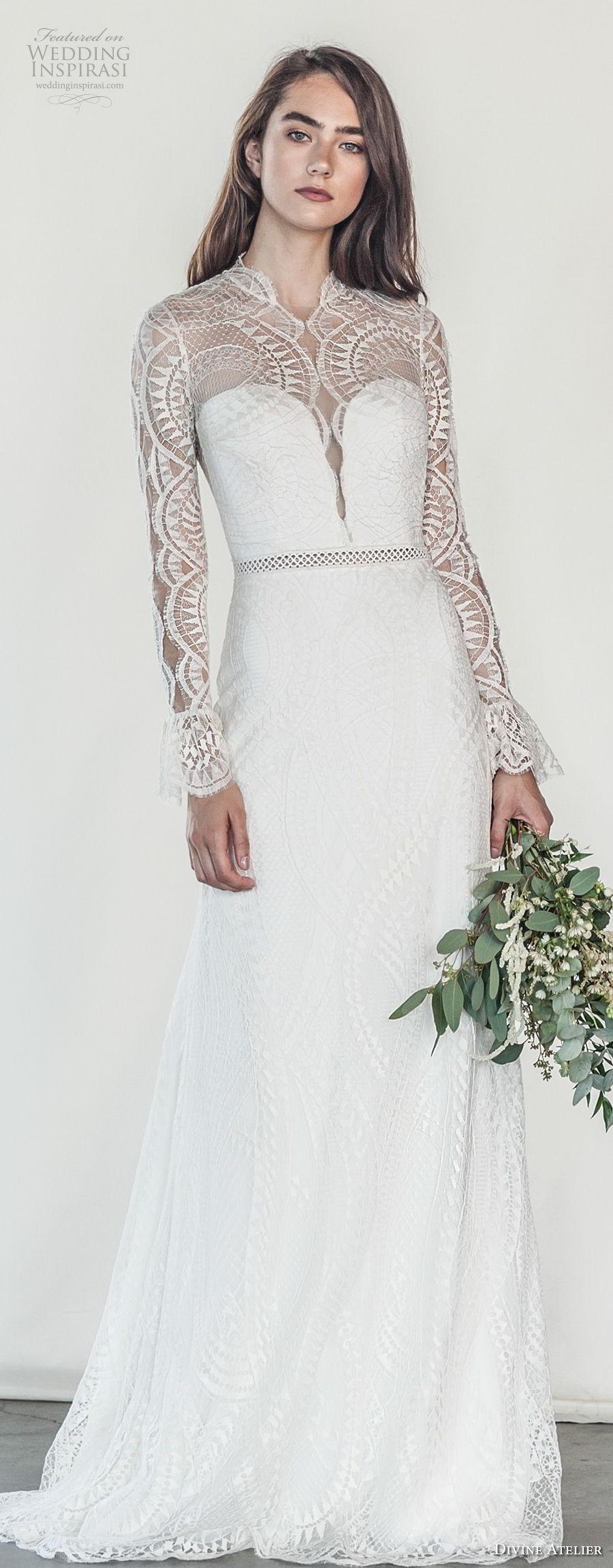 divine atelier 2018 bridal long sleeves illusion high neck sweetheart neckline heavily embellished bodice elegant romantic soft a  line wedding dress keyhole back sweep train (19) mv