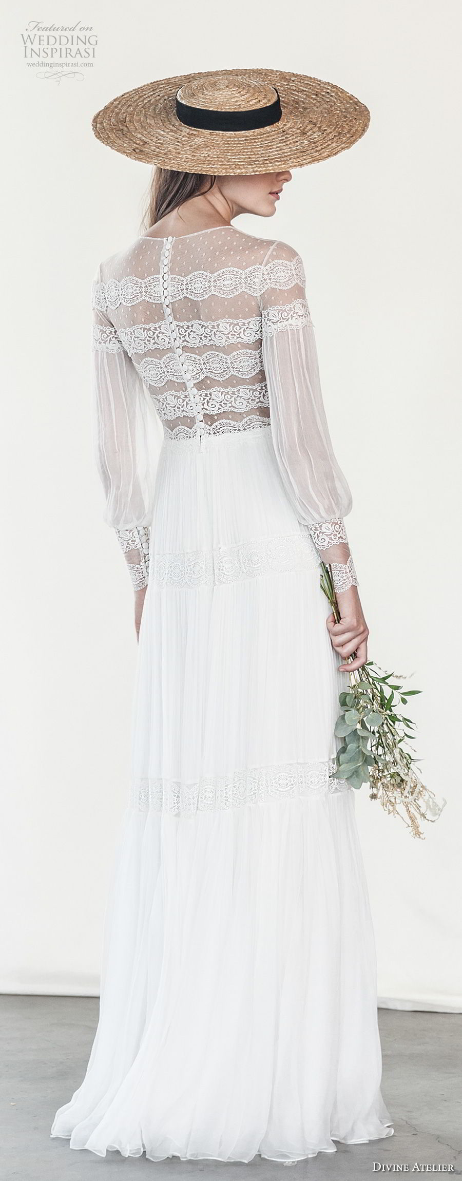 divine atelier 2018 bridal long sleeves illusion jewel straight across neckline light embellishment romantic bohemian soft a  line wedding dress sweep train (2) bv