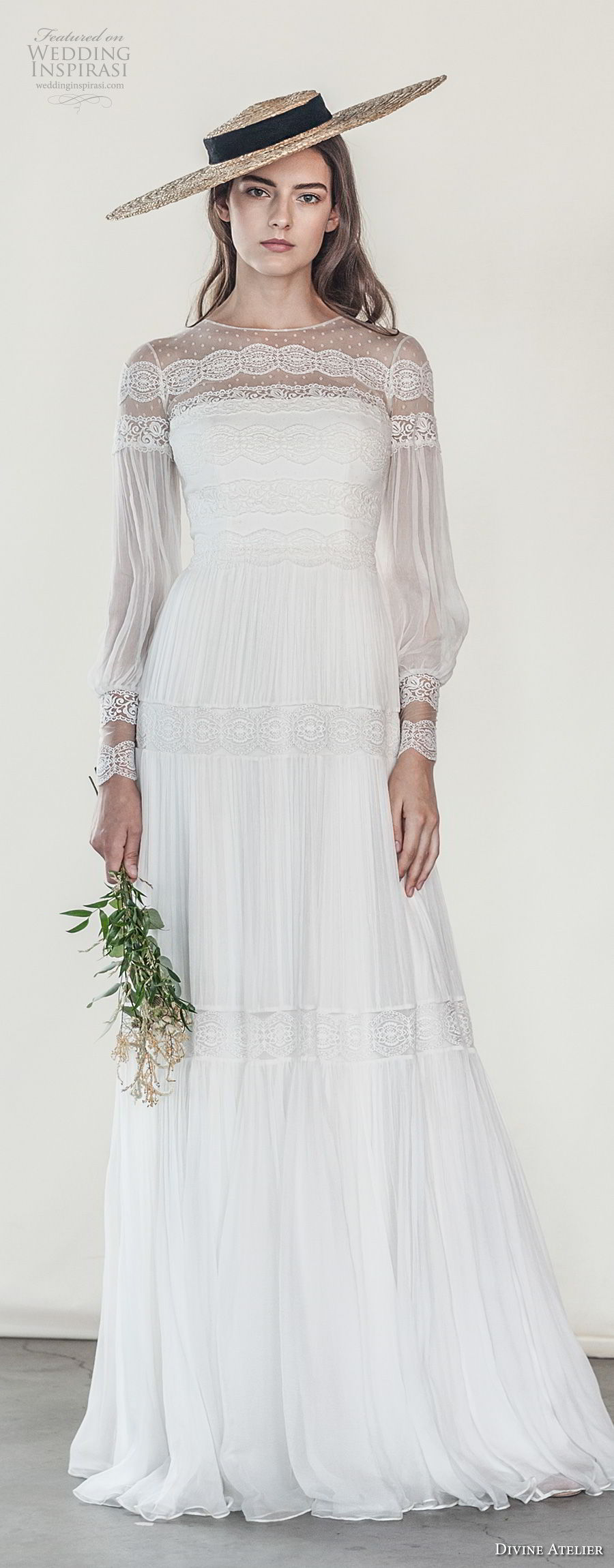 divine atelier 2018 bridal long sleeves illusion jewel straight across neckline light embellishment romantic bohemian soft a line wedding dress sweep train (2) lv