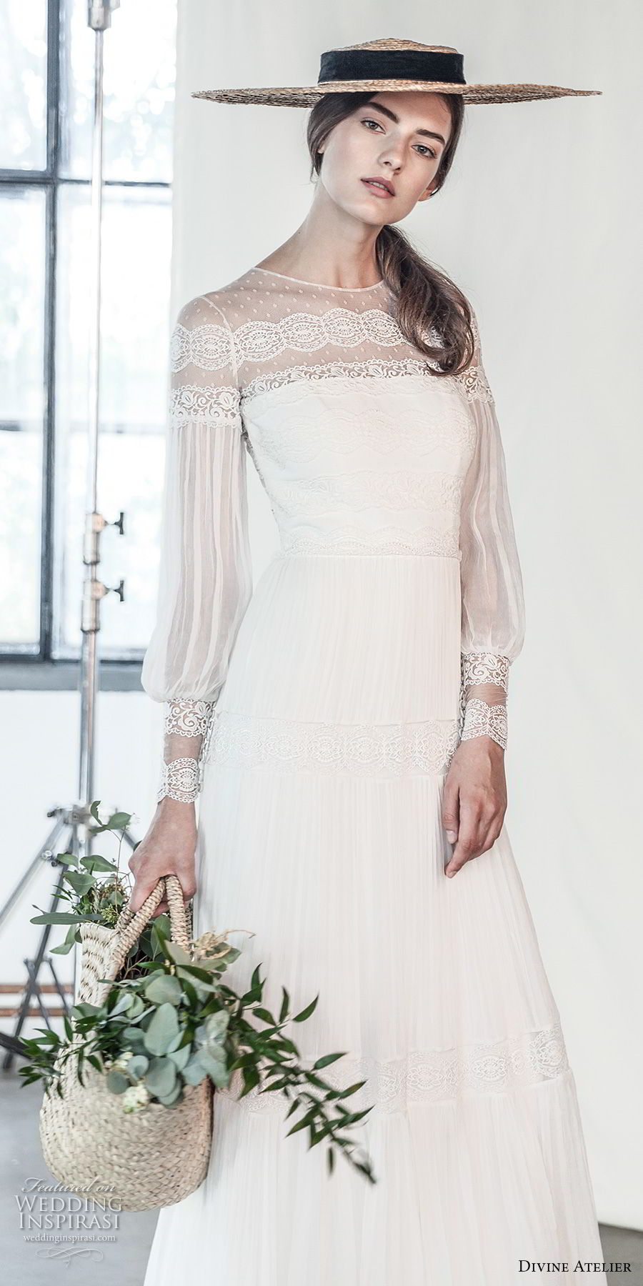 divine atelier 2018 bridal long sleeves illusion jewel straight across neckline light embellishment romantic bohemian soft a  line wedding dress sweep train (2) mv