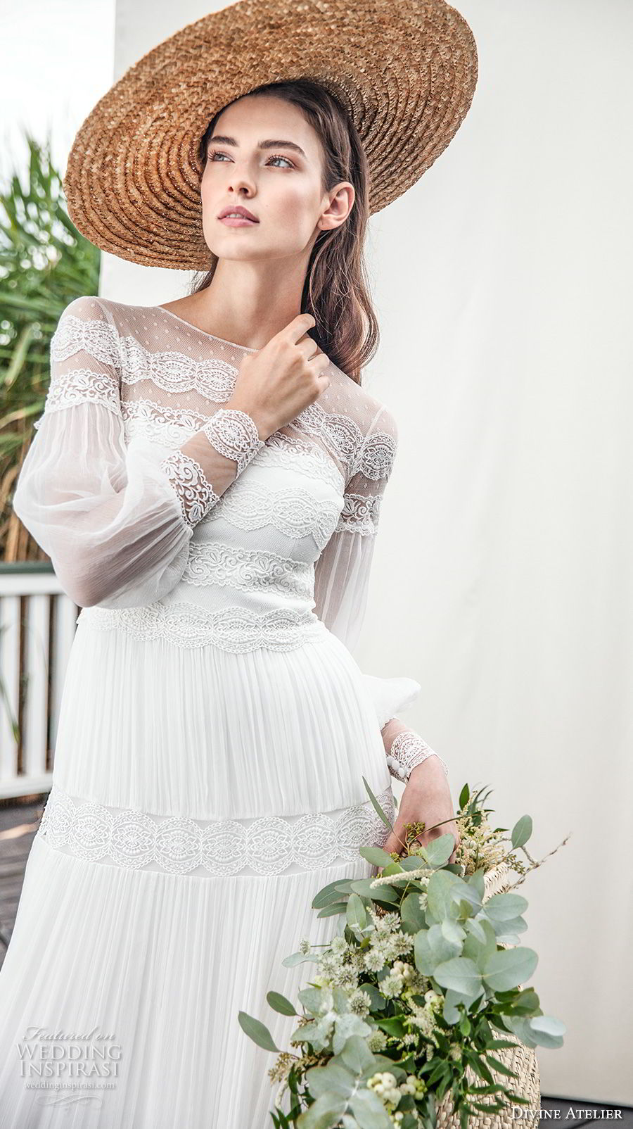 divine atelier 2018 bridal long sleeves illusion jewel straight across neckline light embellishment romantic bohemian soft a  line wedding dress sweep train (2) zv