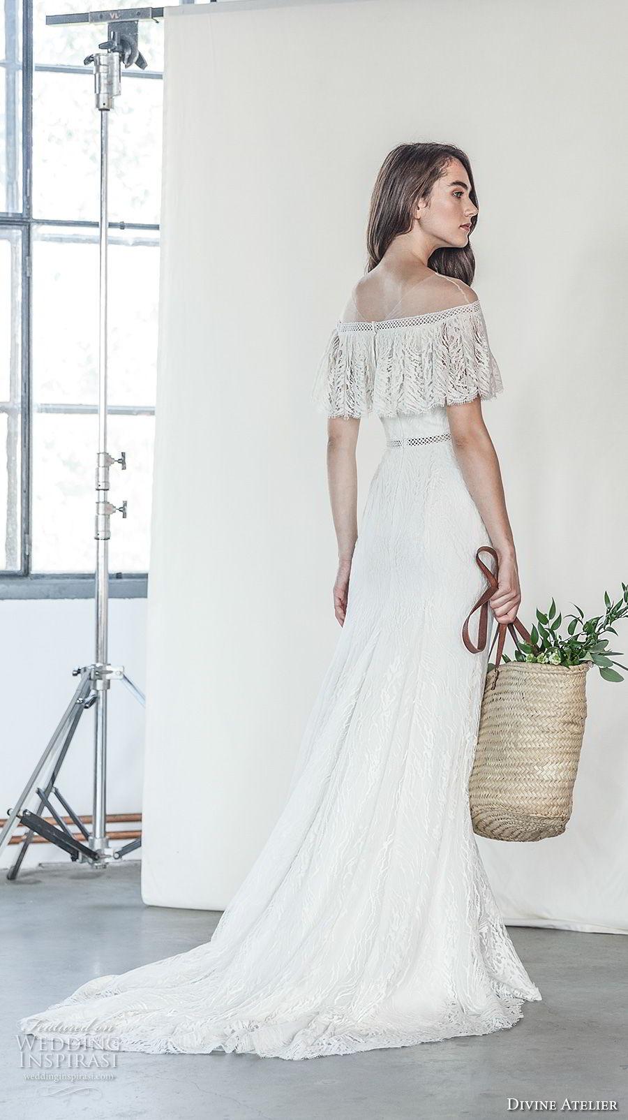 divine atelier 2018 bridal off the shoulder straight across neckline light embellishment romantic soft a  line wedding dress medium train (15) bv