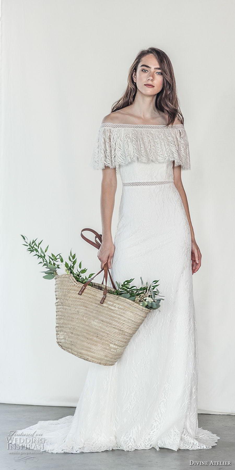 divine atelier 2018 bridal off the shoulder straight across neckline light embellishment romantic soft a  line wedding dress medium train (15) mv