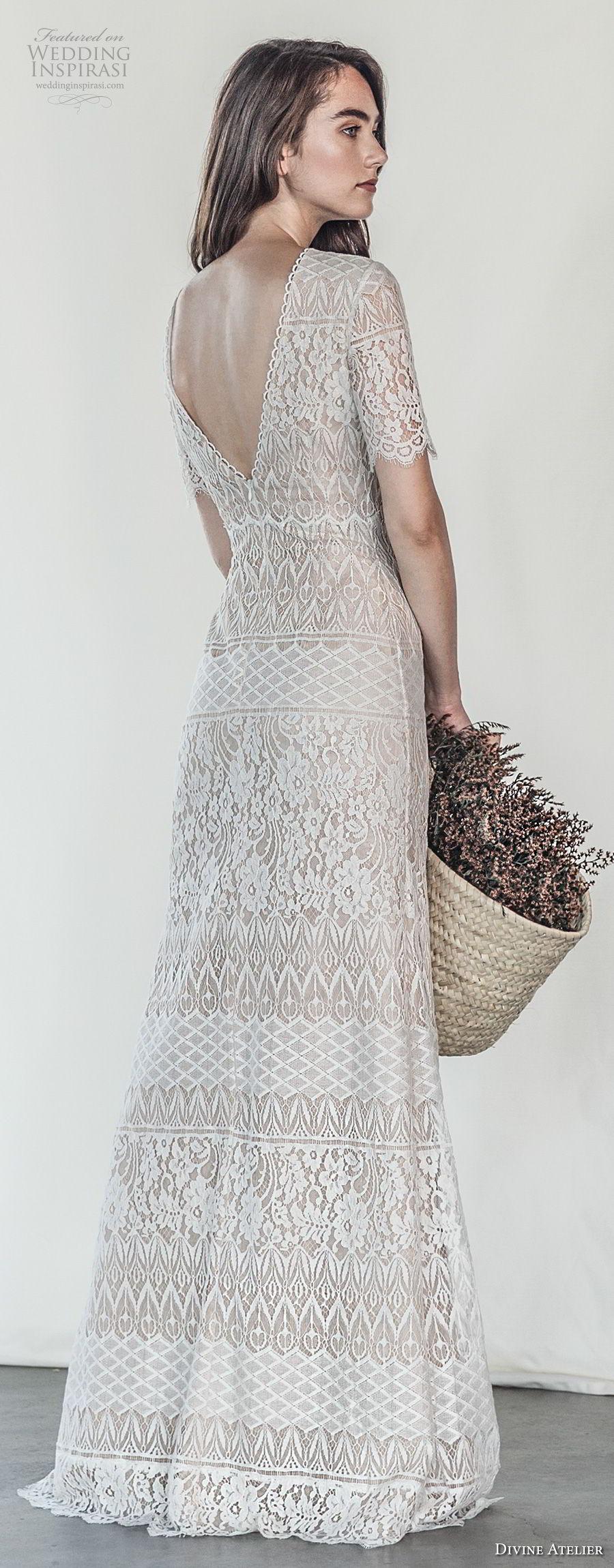 divine atelier 2018 bridal short sleeves jewel neckline full embellishment elegant sheath wedding dress v back sweep train (3) bv