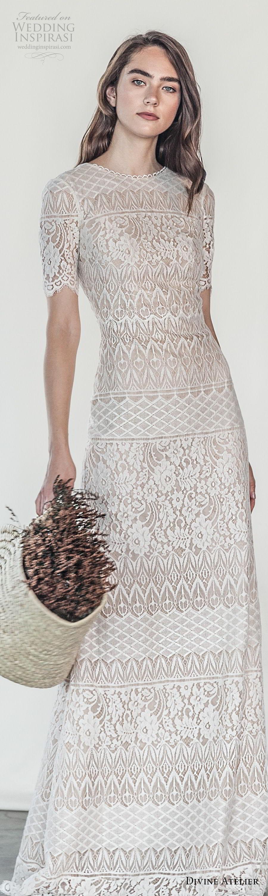 divine atelier 2018 bridal short sleeves jewel neckline full embellishment elegant sheath wedding dress v back sweep train (3) lv