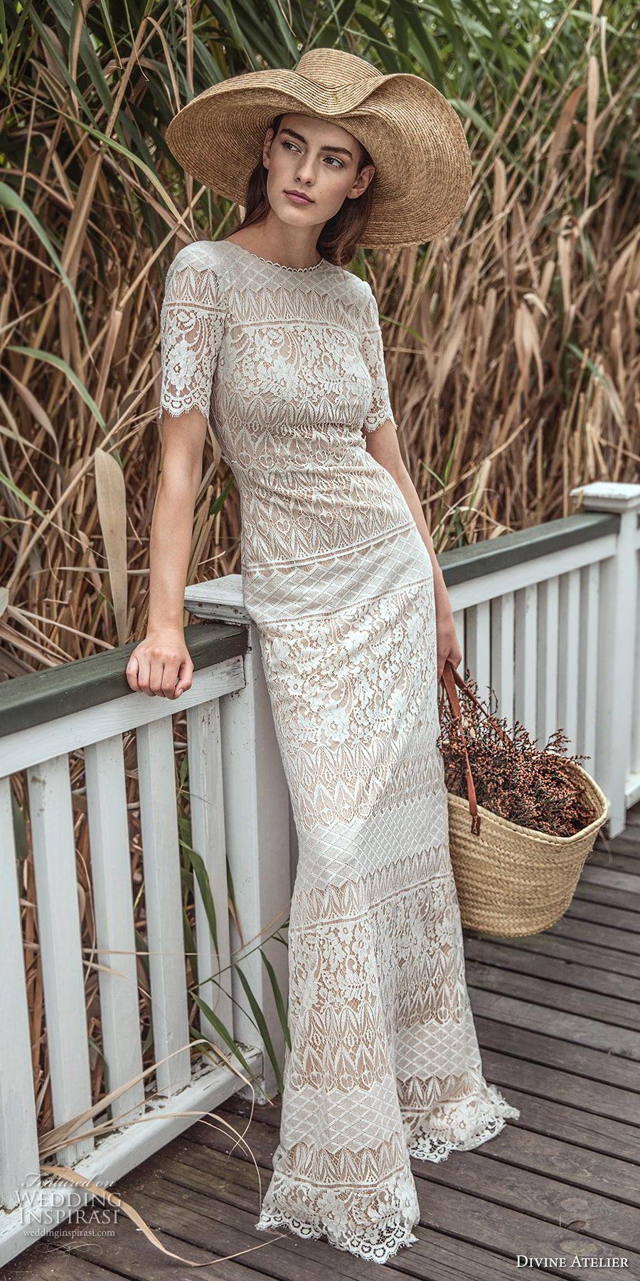 divine atelier 2018 bridal short sleeves jewel neckline full embellishment elegant sheath wedding dress v back sweep train (3) mv