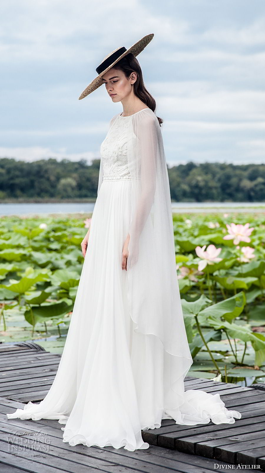 divine atelier 2018 bridal sleeveless halter jewel neck heavily embellished bodice romantic soft a  line wedding dress with cape sweep train (13) mv