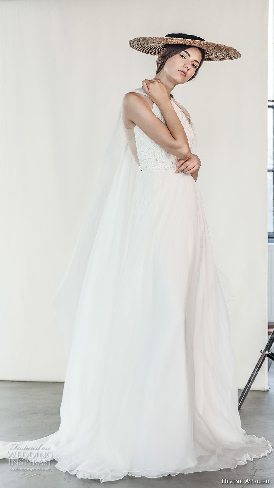 divine atelier 2018 bridal sleeveless halter jewel neck heavily embellished bodice romantic soft a  line wedding dress with cape sweep train (13) sdv