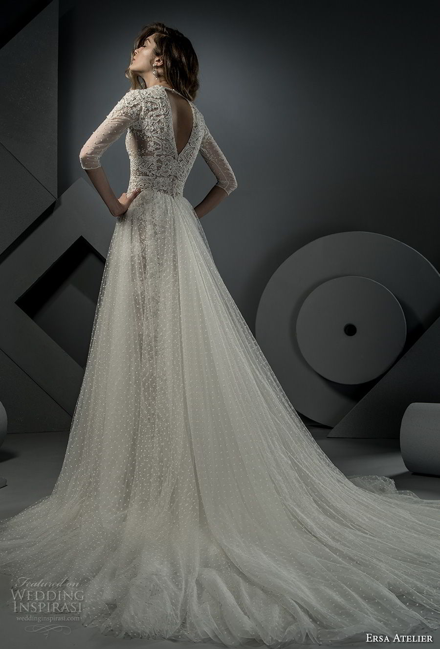 ersa atelier spring 2018 bridal half sleeves deep v neck full embellishment elegant sexy drop waist a line wedding dress open v back chapel train (6) bv