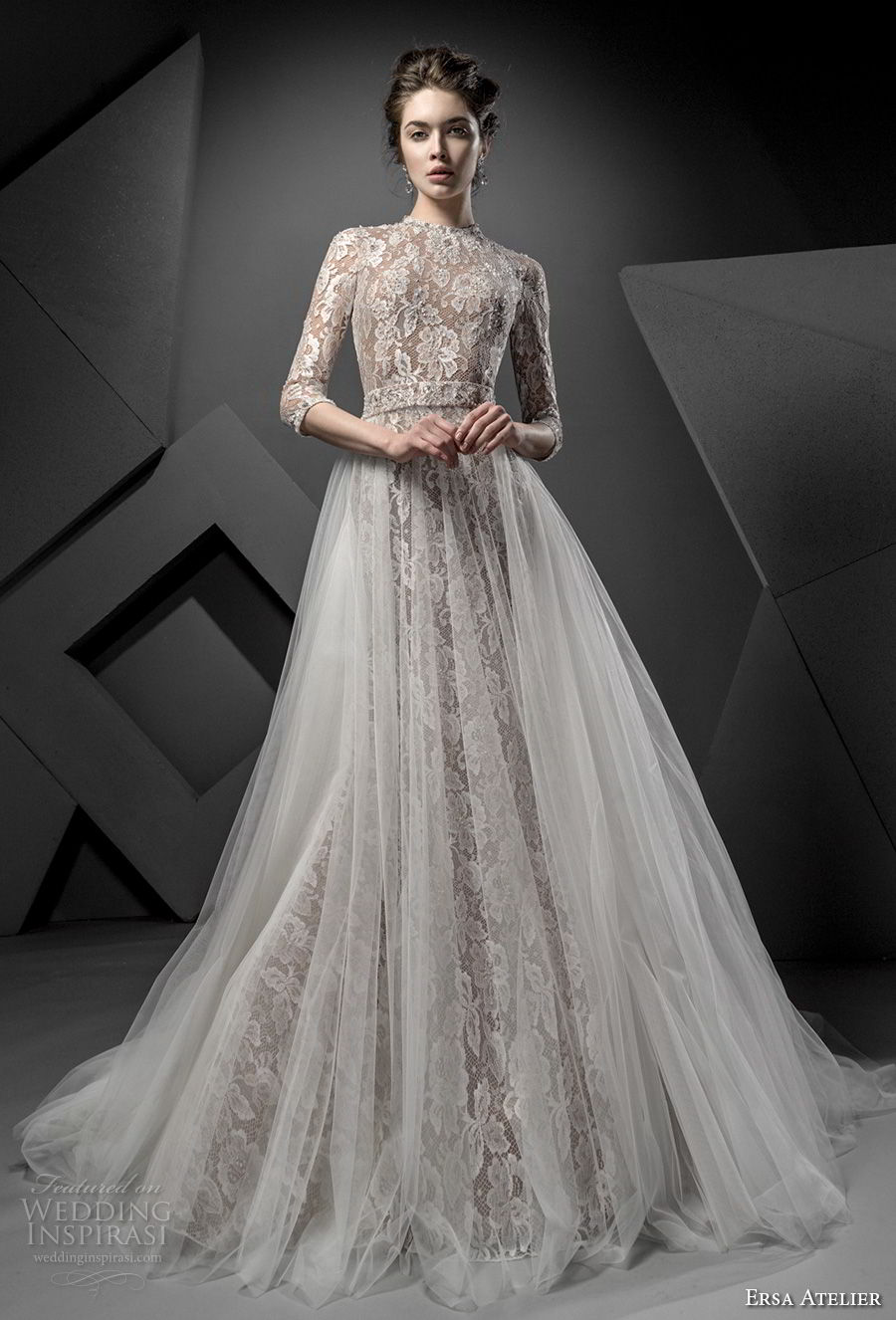 ersa atelier spring 2018 bridal half sleeves high jewel neck full embellishment elegant drop waist a line wedding dress open back chapel train (3) mv