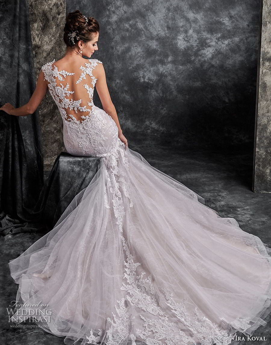 ira koval 2017 bridal cap sleeves sweetheart neckine heavily embellished lace bodice elegant mermaid wedding dress lace back chapel train (608) bv