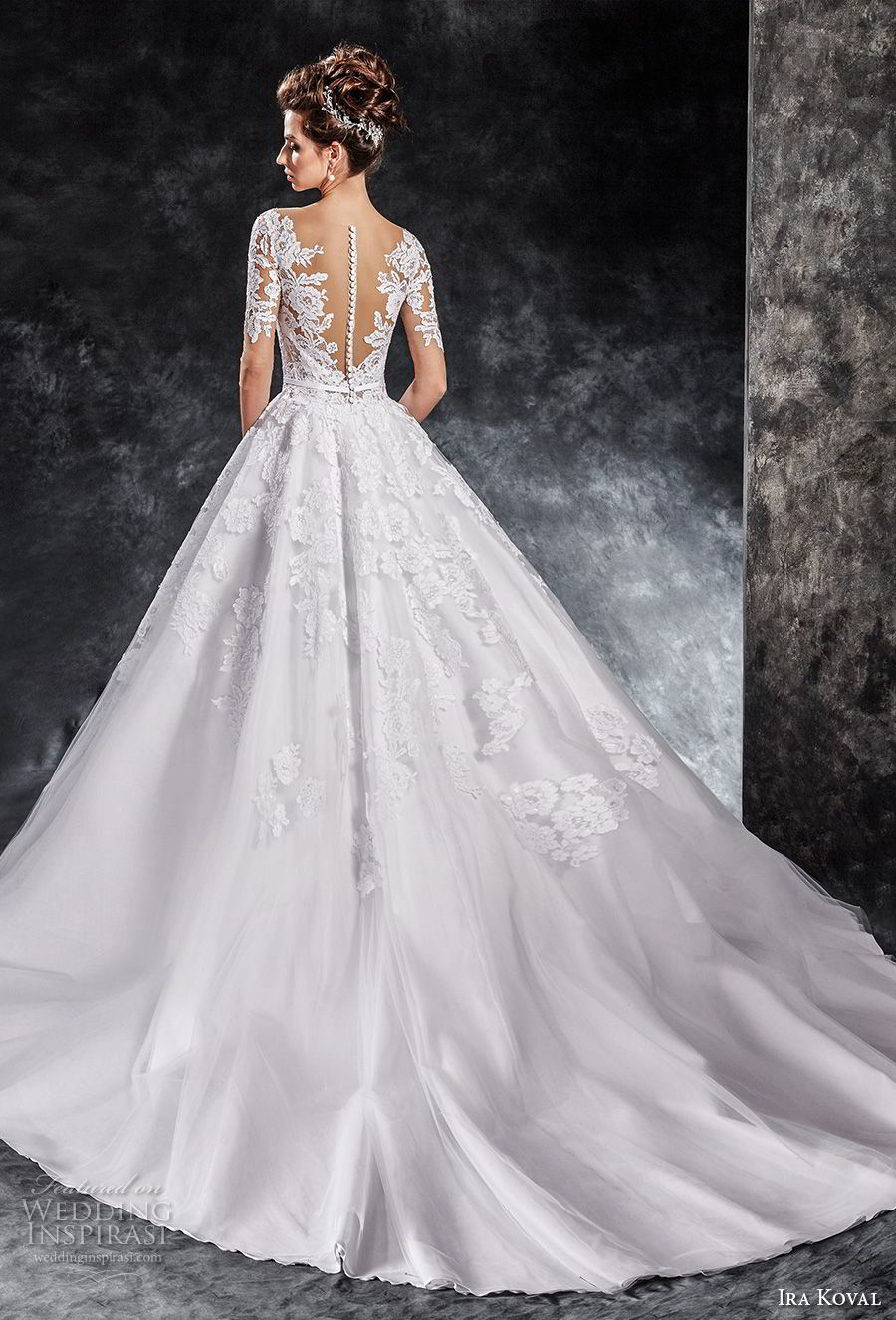 ira koval 2017 bridal half sleeves deep v heavily embellished bodice romantic elegant a line wedding dress sheer button back chapel train (613) bv