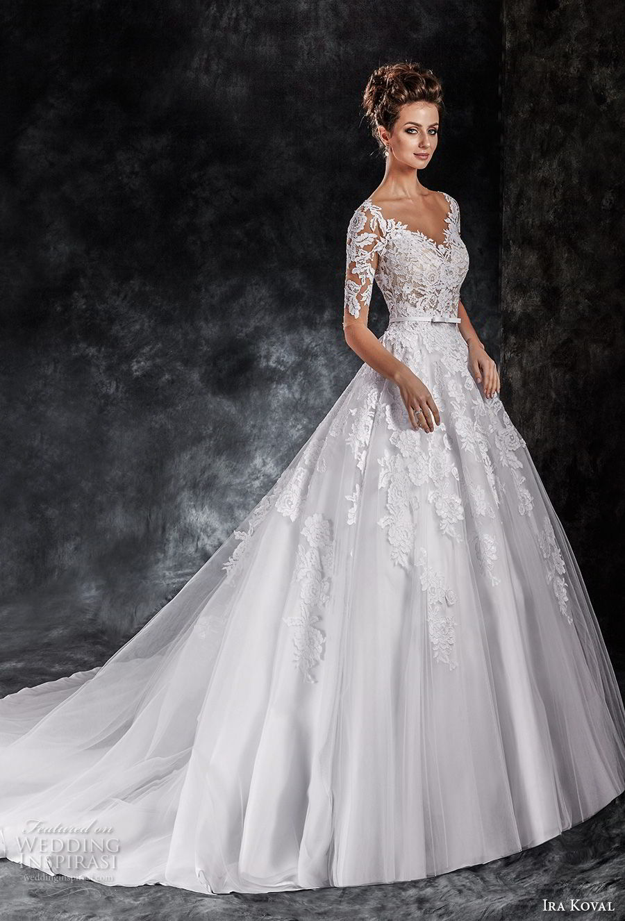 ira koval 2017 bridal half sleeves deep v heavily embellished bodice romantic elegant a line wedding dress sheer button back chapel train (613) mv