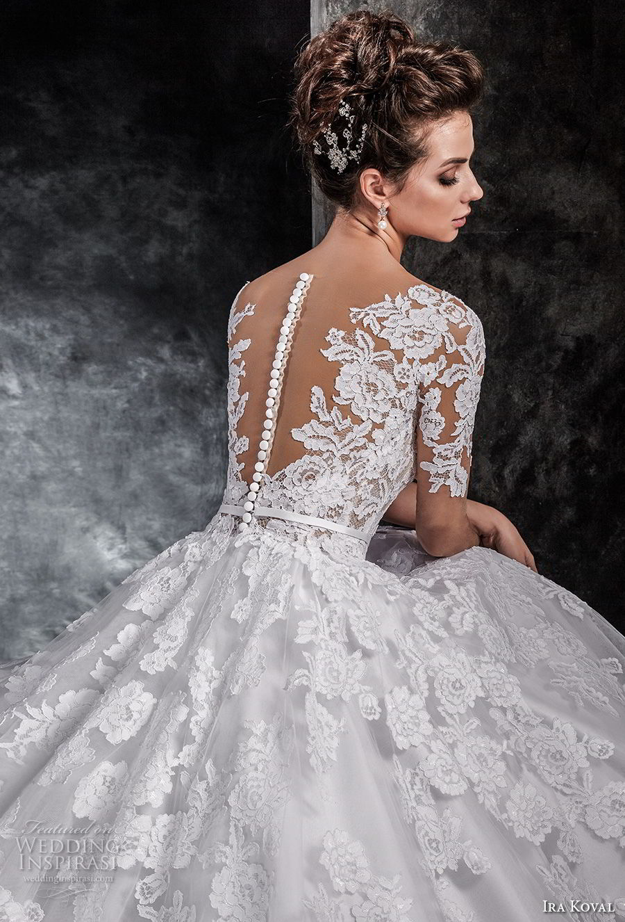 ira koval 2017 bridal half sleeves deep v heavily embellished bodice romantic elegant a line wedding dress sheer button back chapel train (613) zbv