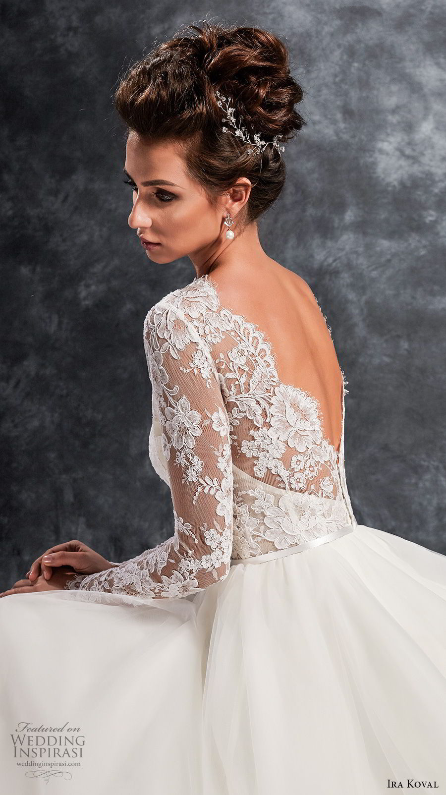 ira koval 2017 bridal long sleeves illusion jewel sweetheart neckline heavily embellished lace bodice elegant a line wedding dress open v back chapel train (614) zbv