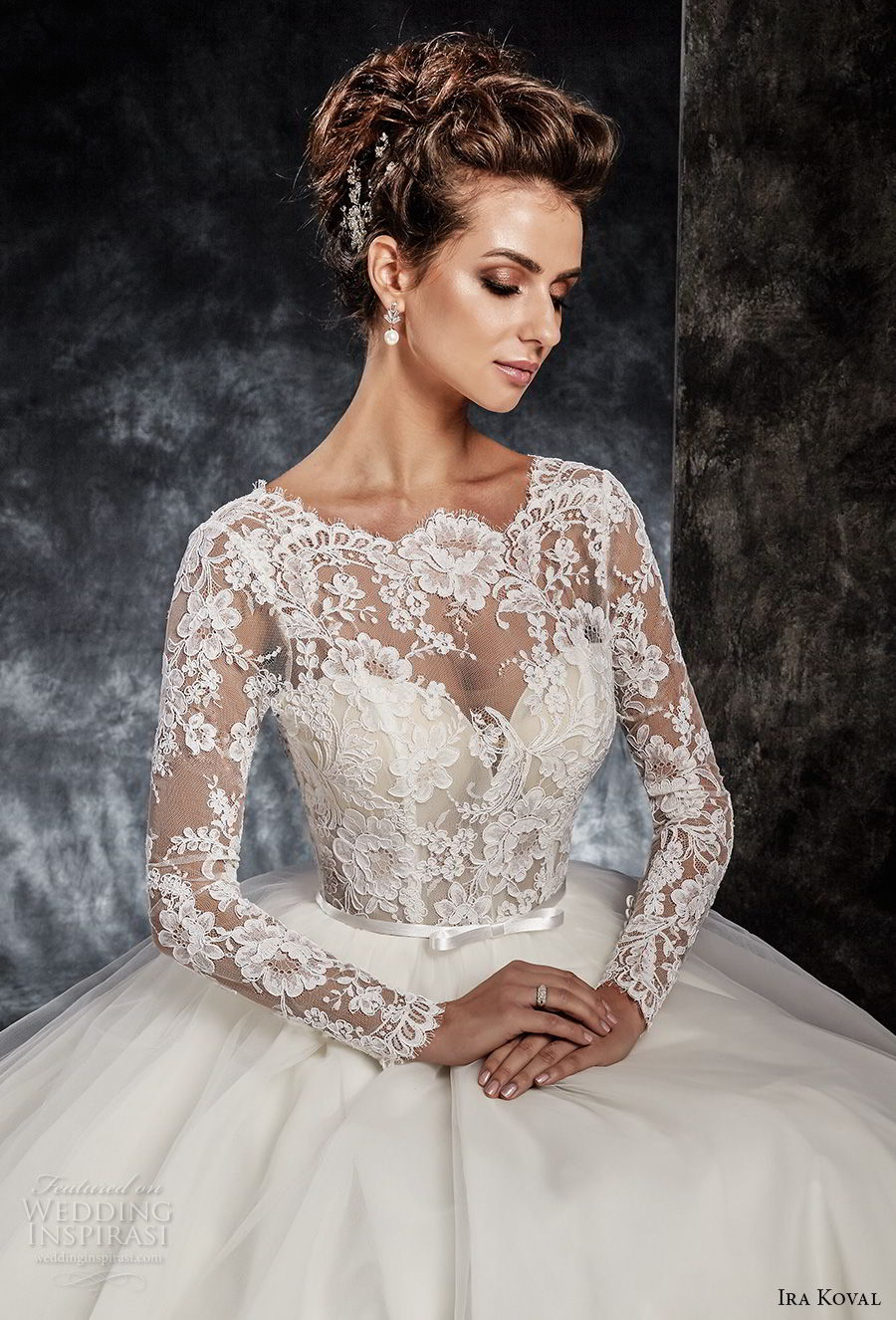 ira koval 2017 bridal long sleeves illusion jewel sweetheart neckline heavily embellished lace bodice elegant a line wedding dress open v back chapel train (614) zv mv